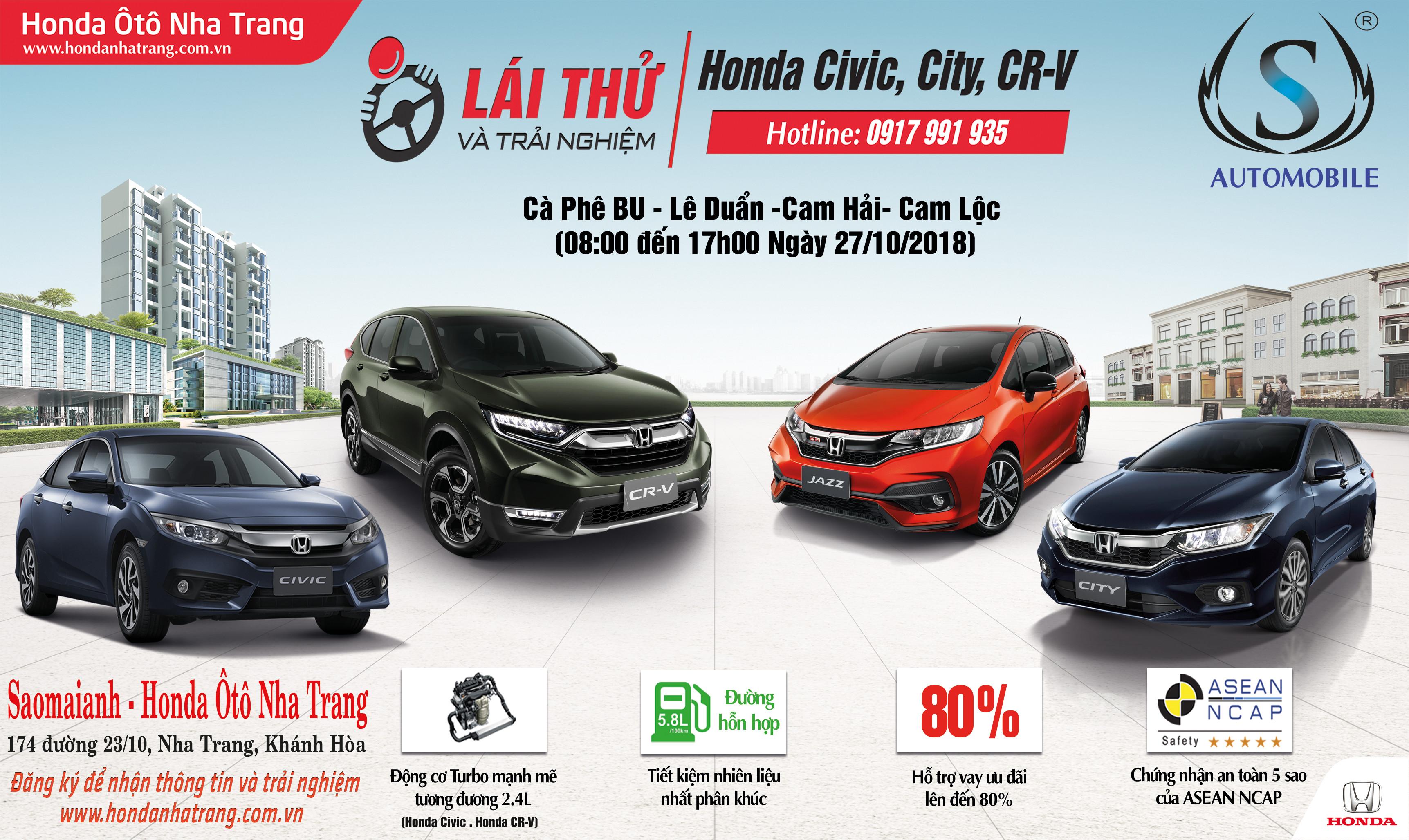 Trải nghiệm & Lái thử Honda Ôtô của Honda Ôtô Nha Trang tại Cam Ranh, Khánh Hòa
