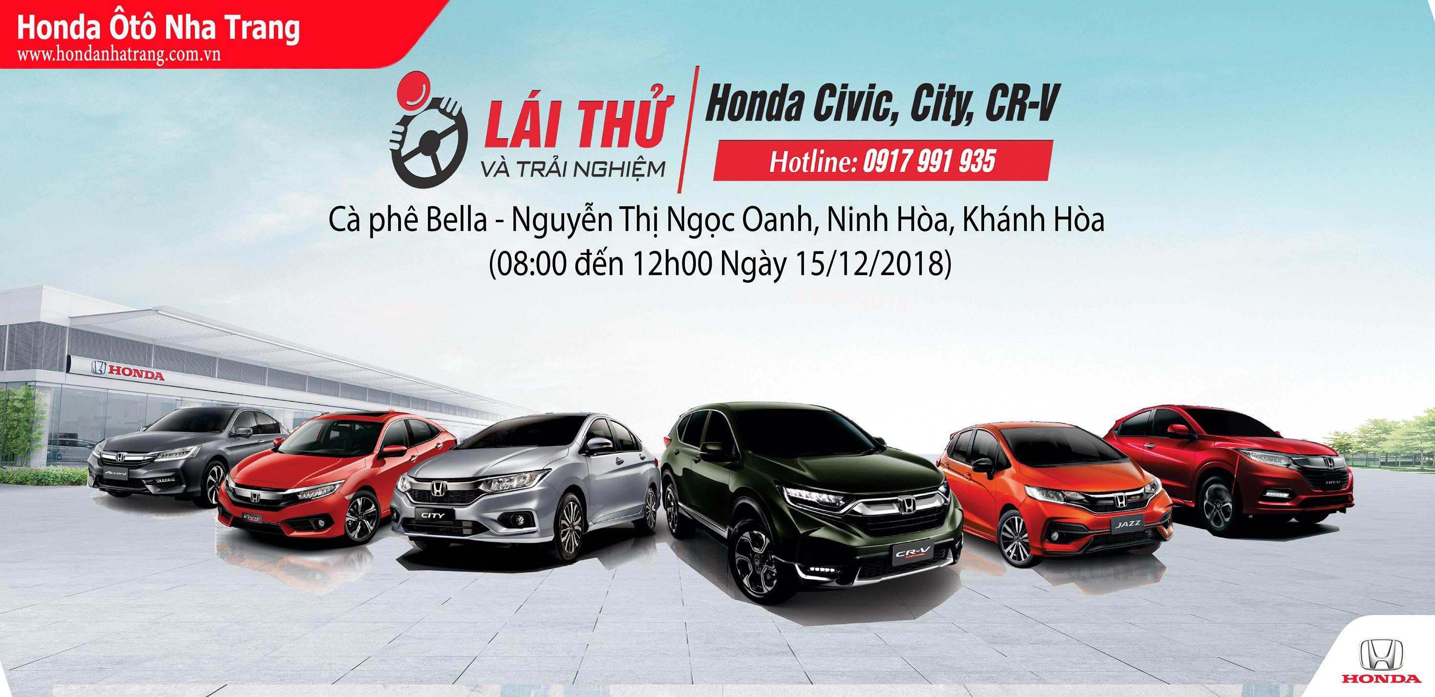 Honda Ôtô Nha Trang tổ chức chương trình Lái thử Honda tại Ninh Hòa 15/12/2018