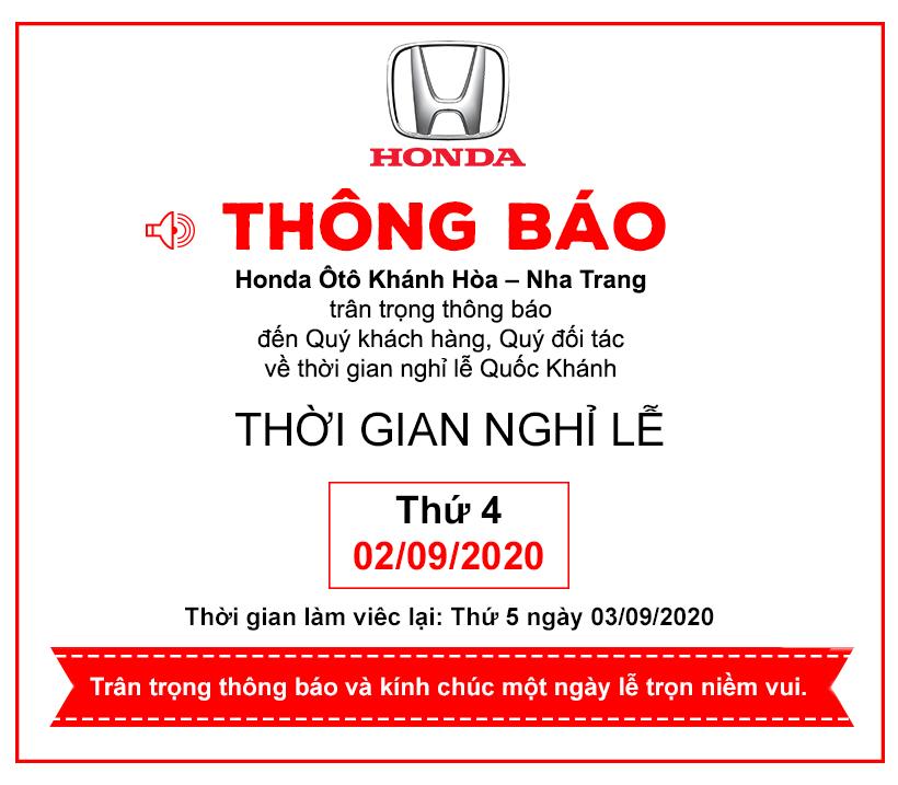 Honda Ôtô Khánh Hòa – Nha Trang thông báo lịch nghỉ lễ Quốc Khánh 02/09/2020