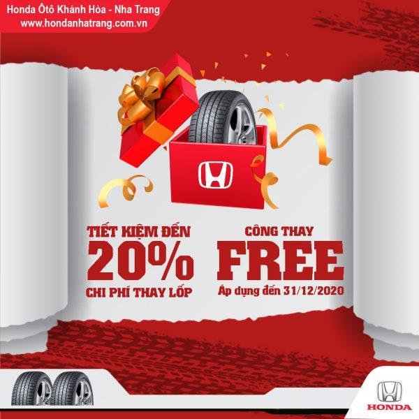 Chương trình Ưu đãi 20% chi phí thay lốp tại Honda Ôtô Khánh Hòa – Nha Trang