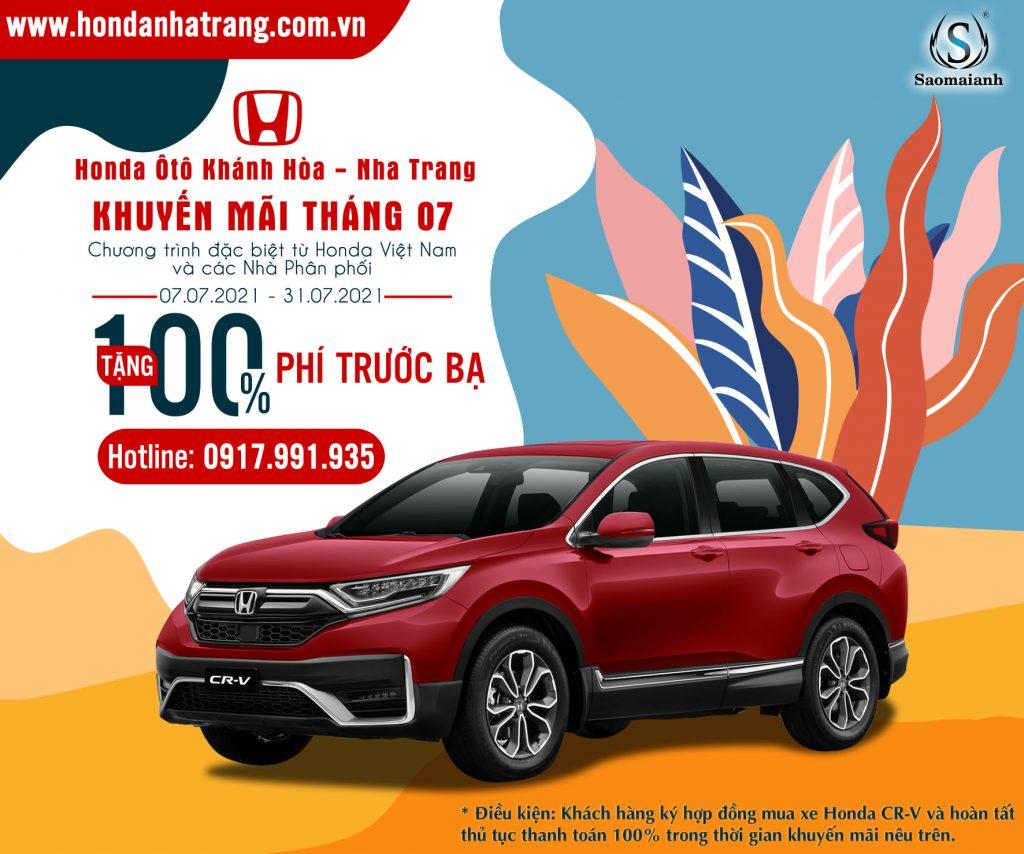 """CTKM Tháng 07 """"Ưu Đãi Khủng Cùng Honda"""" : Hỗ trợ 100% Phí Trước Bạ"""