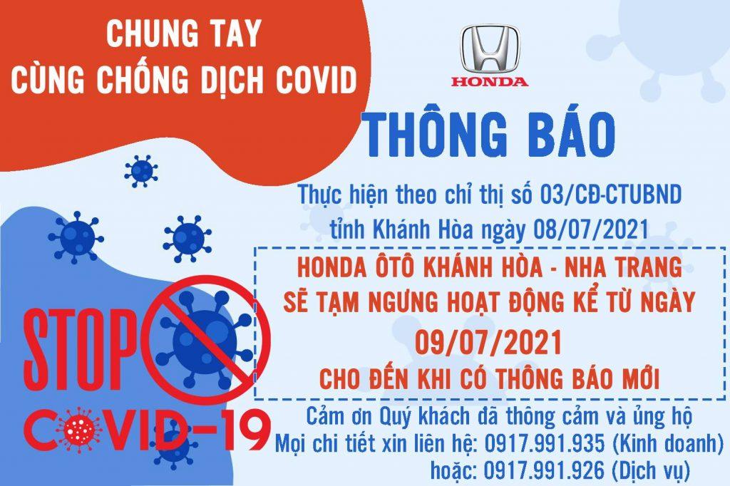 Thông báo ngưng hoạt động do dịch Covid ngày 09/07/2021